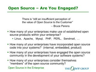Open Source � Are You Engaged?