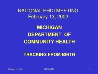 NATIONAL EHDI MEETING February 13, 2002