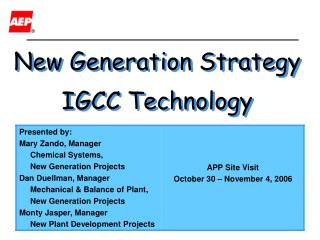 New Generation Strategy IGCC Technology