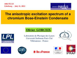 The  anisotropic  excitation  spectrum  of a  chromium  Bose-Einstein  Condensate