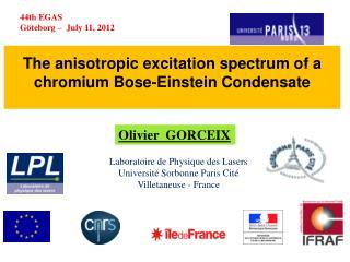 The  anisotropic  excitation  spectrum  of a  chromium  Bose-Einstein  Condensate