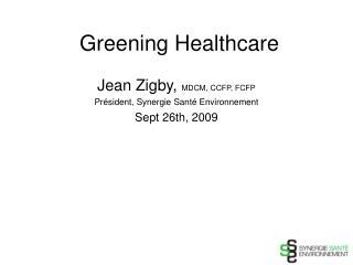 Greening Healthcare