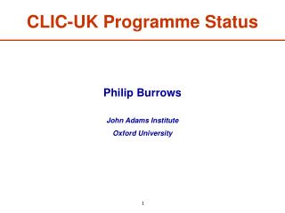 CLIC-UK Programme Status