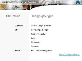 Overview Current Design provision MSc  Computing & Design Programme details Intake