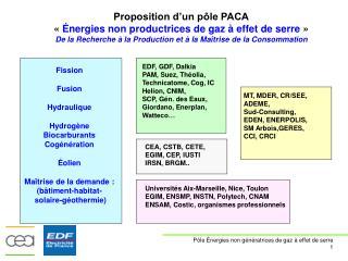 Proposition d'un pôle PACA « Énergies non productrices de gaz à effet de serre  »