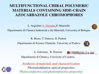 MULTIFUNCTIONAL CHIRAL POLYMERIC MATERIALS CONTAINING SIDE-CHAIN AZOCARBAZOLE CHROMOPHORES