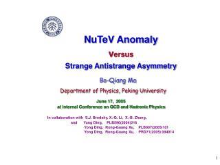 NuTeV Anomaly  v ersus Strange Antistrange Asymmetry