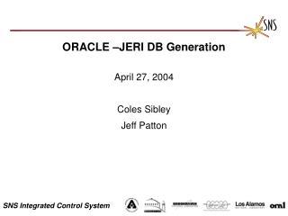 ORACLE –JERI DB Generation
