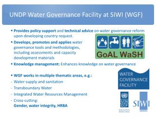UNDP Water Governance Facility at SIWI (WGF)