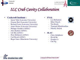 ILC Crab Cavity Collaboration