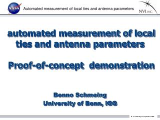 automated measurement of local ties and antenna parameters  Proof-of-concept  demonstration