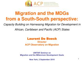 Migration and the MDGs from a South-South perspective:
