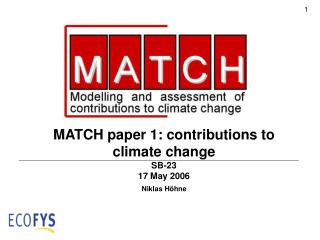 MATCH paper 1: contributions to climate change SB-23  17 May 2006