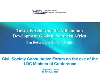 Civil Society Consultative Forum on the eve of the LDC Ministerial Conference  Livingstone, Zambia