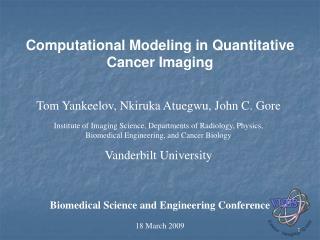 Computational Modeling in Quantitative Cancer Imaging