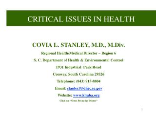 CRITICAL ISSUES IN HEALTH