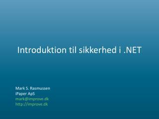 Introduktion til sikkerhed i .NET