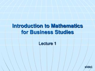 Introduction to Mathematics for Business Studies