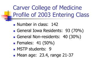 Carver College of Medicine Profile of 2003 Entering Class