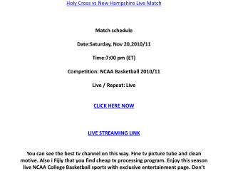 Watch Holy Cross vs New Hampshire live stream NCAA College B