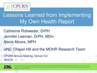 Lessons Learned from Implementing My Own Health Report