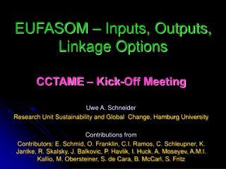 EUFASOM – Inputs, Outputs, Linkage Options