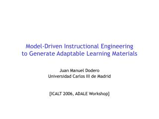 Model-Driven Instructional Engineering  to Generate Adaptable Learning Materials