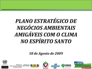 PLANO ESTRAT�GICO DE NEG�CIOS AMBIENTAIS AMIG�VEIS COM O CLIMA NO ESP�RITO SANTO