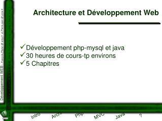 Architecture et Développement Web