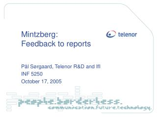 Mintzberg: Feedback to reports