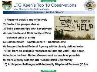 LTG Keen's Top 10 Observations from Operation Unified Response