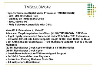 High-Performance Digital Media Processor (TMS320DM642) – 500-, 600-MHz Clock Rate