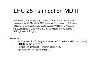 LHC 25 ns injection MD II