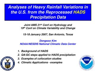 Analyses of Heavy Rainfall Variations in the U.S. from the Reprocessed  HADS  Precipitation Data
