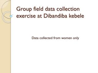 Group field data collection exercise at  Dibandiba  kebele