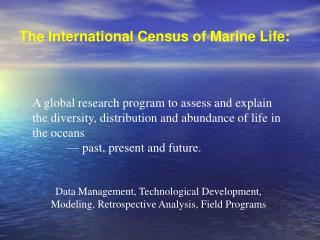 The International Census of Marine Life: