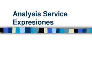Analysis Service Expresiones