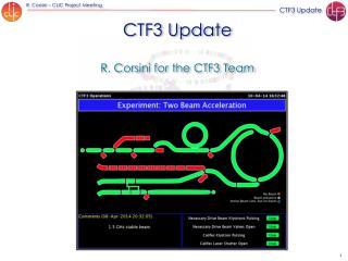 CTF3 Update R. Corsini for the CTF3 Team