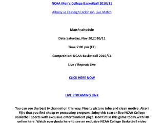 Watch Albany vs Fairleigh Dickinson live stream NCAA College