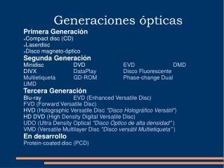 Generaciones  ópticas