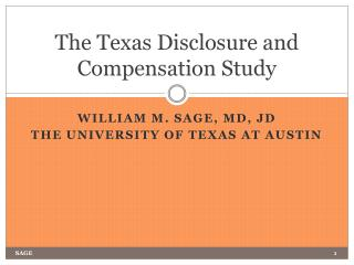 The Texas Disclosure and Compensation Study