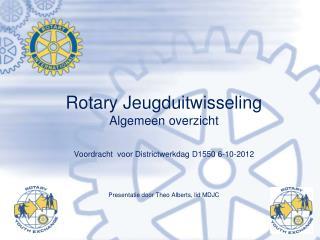 Rotary Jeugduitwisseling  Algemeen overzicht Voordracht  voor Districtwerkdag D1550 6-10-2012
