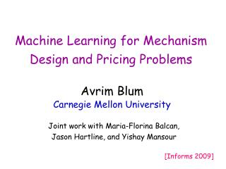 Machine Learning for Mechanism Design and Pricing Problems