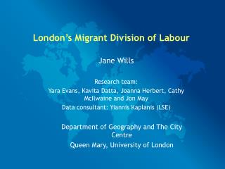 London's Migrant Division of Labour