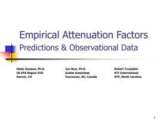 Empirical Attenuation Factors Predictions & Observational Data