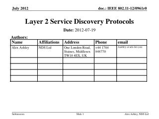 Layer 2 Service Discovery Protocols