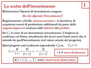 La scelta dell'investimento