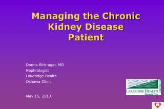 Managing the Chronic Kidney Disease Patient