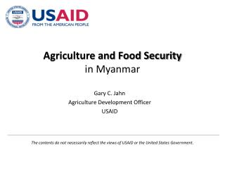Agriculture and Food Security in Myanmar