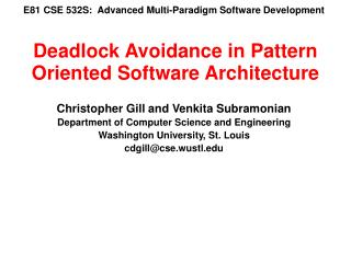 E81 CSE 532S:  Advanced Multi-Paradigm Software Development